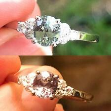 Natural Alexandrite Diamond Ring Oval Blue Green Certified 14K White Gold