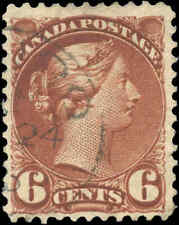 Canada Used F+ Scott #43 1888-97 Red Brown 6c Small Queen