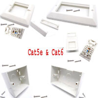 RJ45 Network Cat5e Cat6 1 & 2-Gang Modular Face Plate Back Box Blank Spacers Lot