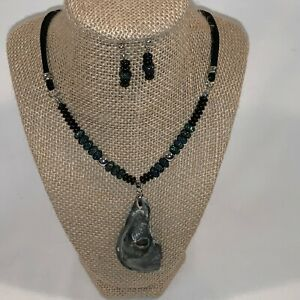 Black Shell Necklace, Earrings and Bracelet Set ONE OF A KIND