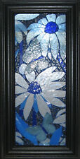 Mosaic Window Art Blue Flowers and Butterflies Hand Crafted Stained Glass