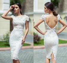 Short Cap Sleeve Bridal Gown Lace Wedding Dress Custom Size 2 4 6 8 10 12 14 16+