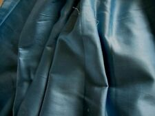 ANTIQUE VINTAGE FRENCH BLUE POLISHED COTTON FABRIC REMNANT FOR DOLL CLOTHES