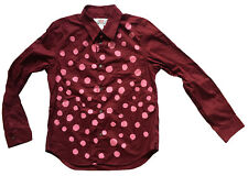 Comme des GARCONS x h&m Damen SZ 10 Burgund Baumwolle Pink Dots Button-Down Shirt