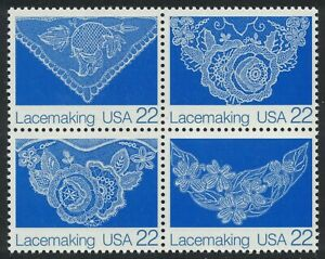 Scott 2351-54- Lacemaking, Block of 4- MNH 22c 1987- unused mint stamps