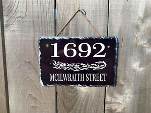 Personalized Home Address Plaque Made with Slate Custom House Number Sign sl05
