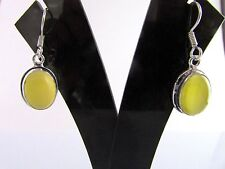 Beautiful Yellow Monalisa Handmade Oval Shape German Silver Earrings - 1 Pair