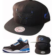 Mitchell   Ness Chicago Bulls Black Snapback Hat Air Jordan 3 Retro Sport  Blue 5a87cfdcf724