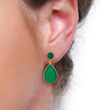 Natural Green Onyx 18K Gold Plated Brass Designer Drop Earrings Fashion Jewelry