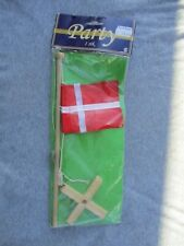 DENMARK SMALL WOODEN FLAG STAND SMALL SIZE, DENMARK PARTY FLAG