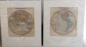 Pair of Antique Maps, Eastern & Western Hemispheres circa 1844 & 1846 - Findlays