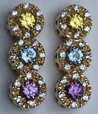 14k 3 Tier Yellow, Blue & Purple with Diamonds Earings