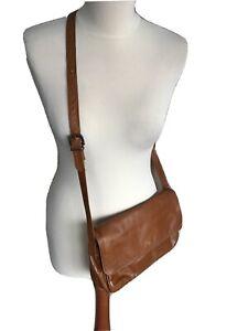 Tan leather messenger shoulder cross body bag vintage Enny