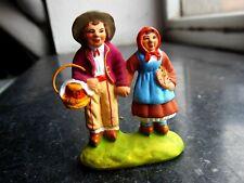 Santon en terre cuite peint Carbonel - Couple d'enfants N° 1