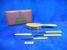 Vintage 1920s Art Deco Tin w 5p 1910s Catalin Bakelite Vanity Set WC6