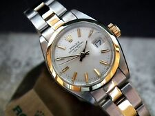 Stunning 1982 Ladies Steel & Solid 14ct Gold Rolex Oyster Perpetual Date Watch