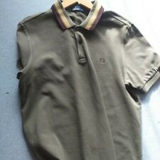 Men's Fred Perry Green BROWN COĹLAR  Polo Shirt L  EX CON COTTON