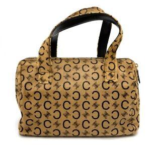 CELINE CMacadam Vintage Hand Bag Leather x Pony-Hair Beige x Dark Brown
