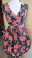 SANS SOUCI Orange-Pink & Black Rose Patterned Dress With Netted Petticoat Size L