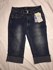 Angels Capris Size 6 Alison LX Distressed Medium Wash Cuffed Capris Stretch NWT