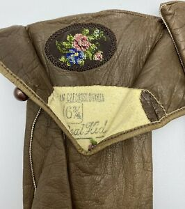 RARE Vintage Hand Sewn/Embroidered Brown Leather Gloves Czechoslovakia Sz 6 3/4