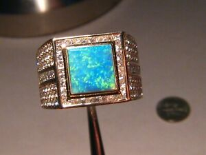 Large Gem  Opal &  Diamond Men's Ring 18.5 grams 14k  2.5 ctw. Diamonds