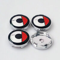 4x 60mm SMART Silber/Rot Nabendeckel Felgendeckel Nabenkappen