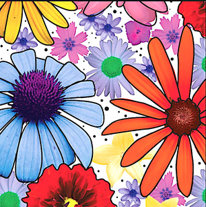 Summer Flowers Gift Wrap Tissue Paper- Flower- 10 Patterned Sheets