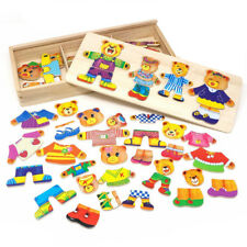 Wooden Jigsaw Puzzle Educational Toys Bear Family Dress Up Games for Kids
