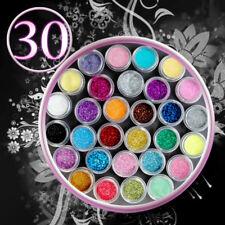 30 Couleur Poudre Poussière Paillette Glitter Ongle Nail Art Manucure Décoration
