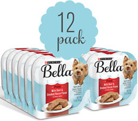 Purina Bella Single Serve Adult Wet Dog Food ,Beef & Smoked Bacon - (12) 3.5 oz.