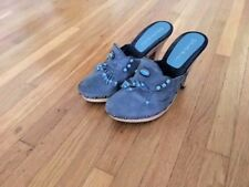 "Gabriella Rocha jean-blue clog with fringe, excellent condition, size 6, heel ""4"