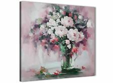 Blush Pink Flowers Painting Bathroom Canvas Wall Art - Abstract 1s441s - 49cm