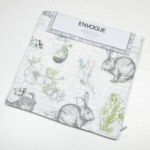 """Envogue Happy Easter Bunny Rabbit Butterfly Paris Script 15"""" Placemats Set of 4"""