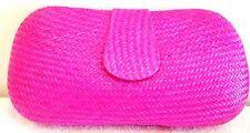 Straw Clutch Hot Pink Fuschia Neon Bright Fall Bag Purse Handbag NEW Lady Womens