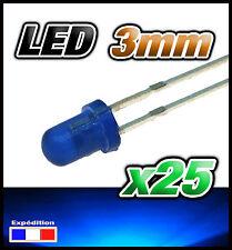 259/25# LED 3mm bleu diffusant 25pcs + résistance
