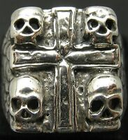 SOLID STERLING SILVER RING 925 HEAVY SKULL CROSS NEW SIZE N - Z ++