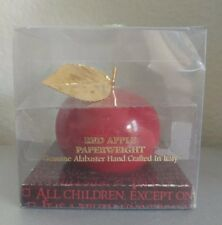 Ducceschi Red Apple Paperweight Carved Alabaster Gold Leaf Hand Crafted Italy