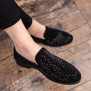 Men's Loafers Pumps Rhinestone Shiny Slip On Party Nightclub Dress Shoes Comfort