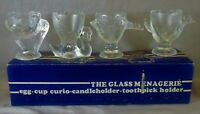 Vintage 1960's The Glass Menagerie Pressed Glass Set Duck Hen Swan Pelican 2.5""