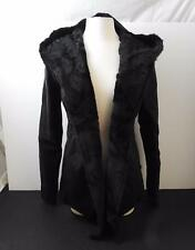 NWT Monoreno Women Faux Fur Imitation Leather Lined Hooded Jacket Black S R1