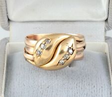 Men's Gents Antique 18Ct Gold And Diamond Double Snake Ring c 1919