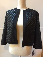 Anthracite By Muse Black Textured Eyelet Embroidered Jacket Shrug Size 8