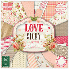 64 SHEET FULL PACK 6 x 6 LOVE STORY CARD MAKING SCRAPBOOKING CRAFT BACKING PAPER