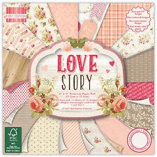 64 foglio intero Pack 6 x 6 LOVE STORY Card Making Scrapbooking Craft Carta di supporto