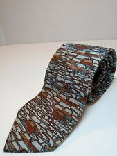 "Berkley Cravats Necktie Automobiles Traffic Cars 70s Neck Tie Blue w/Gold 59""x3"""