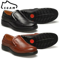 SGAM Mens Genuine Leather Shoes Slip On Loafers Casual Antiskid Outdoor Moccasi