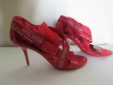 Louis Vuitton Red Patent Leather Canvas High Heel Sandals 8 US / 38