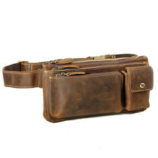 Men Real Leather Bum Waist Belt Bag Fanny Pack Sports Travel Running Pouch