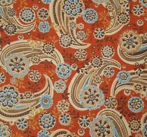 Pinwheel Paisley BTY Marcus Brothers Rust Blue Brown Tan Large Print